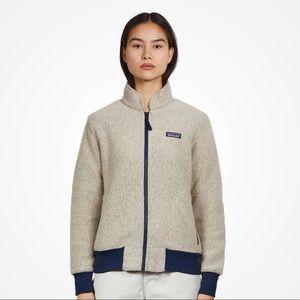 Patagonia Woolyester Fleece Beige Navy Zip Sweater